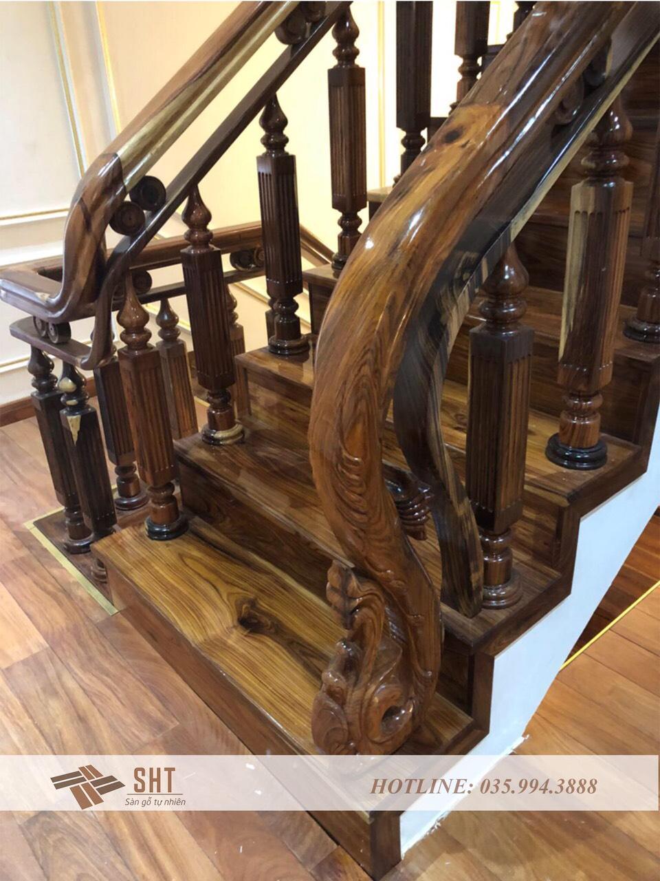 Cầu thang gỗ tự nhiên cẩm lai