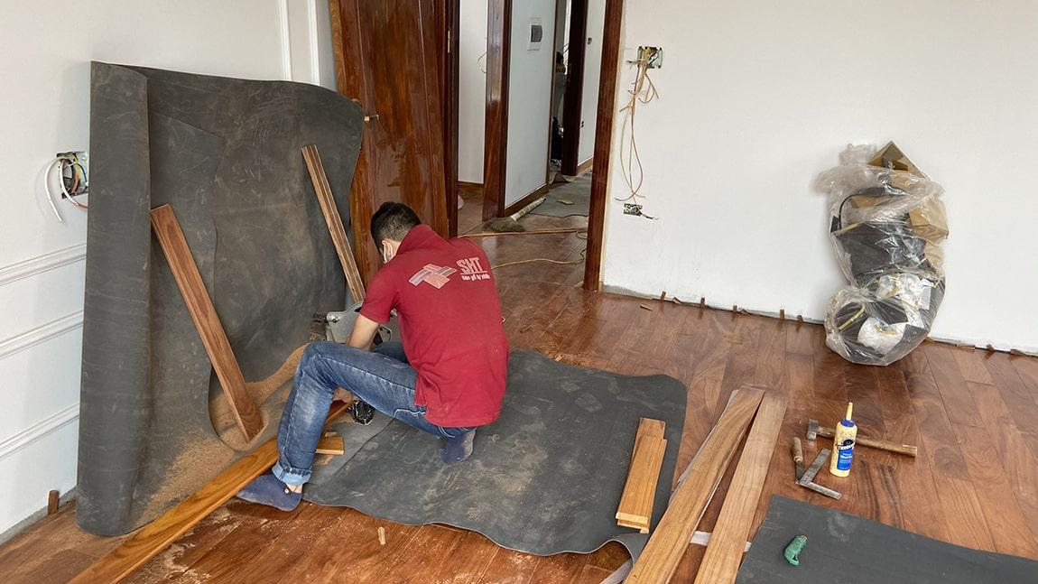 Lắp đặt sàn gỗ tự nhiên gõ đỏ nam phi